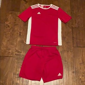Boys Red adidas Climate Outfit